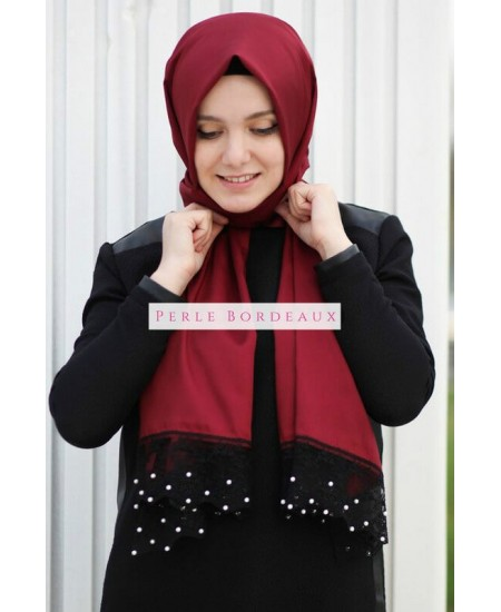 Hijab rouge bordeaux perles