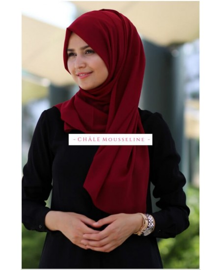 Hijab mousseline bordeaux